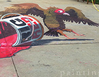 Denison University 3D Chalk Art, Big Red Weekend