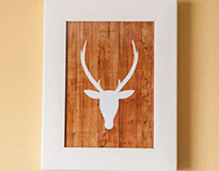 Deer Silhouette on Wood