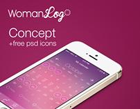 Concept WomenLog ios7 (+ free psd icons)