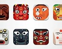 Korean traditional mask icon