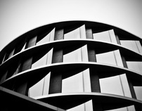 building in black and white