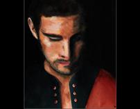 Portrait à l'acrylique de Guy Berryman