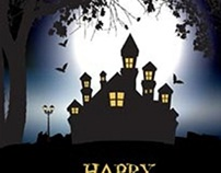 Free Vector Spooky Halloween background with haunted ho