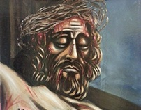 JESUS CRUCIFIED BY PALLOMINY oil on wood panel