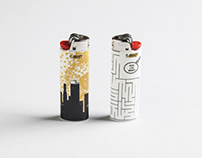 Bic design on fire - lighters