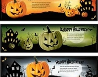 Free Vector Happy Halloween Web Banner Set