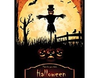 Free Vector Scarecrow Halloween in moonlight Template