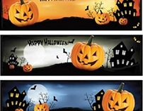 Free Vector Happy Halloween horizontal Web Banner Set