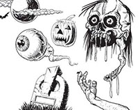 Vector Horror Human Skull eye grave elbow and pumpkin v