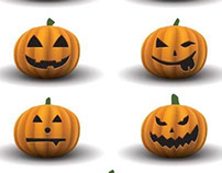 Vector Highly Detailed Scary Halloween pumpkins