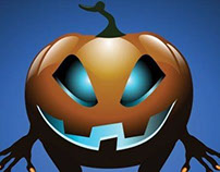 Vector 3d Halloween with blue background