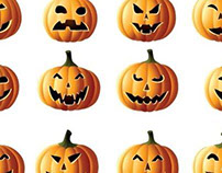 Vector art work set of pumpkin Jack-o-lanterns