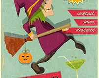 Vector Halloween Party witch retro template design