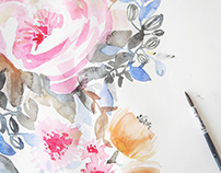 A Q U A R E L L / Floral watercolor interior patterns