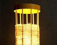 Wooden cage lamp