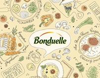 Bonduelle. Table-cloth and menu