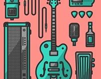 Guitarist's icons set