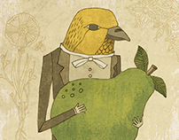 Bird with Pear Greeting Card Illustration
