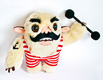 Strongman, soft art toy in retro style