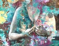 """Creation"" 2013 acrylics, sand from Australia"