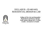 Example Syllabus - Residential Design