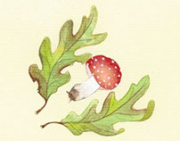 Amanita Muscaria Mushroom and Gracie Owls