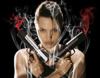 Angelina Jolie Tomb Raider photo with smoke effect