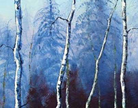 Barely Birch by Lisa Elley. Palette Knife Painting