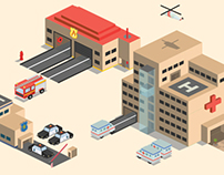 Isometric emergency services icons