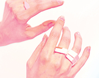 Pure Geometry porcelain and gold rings