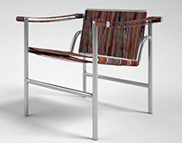Basculant Chair of Le Corbusier with Iranain Kilim.