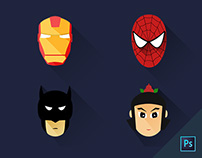 Flat hero icons for free download :)