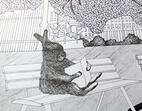Bunny Reading Illustration