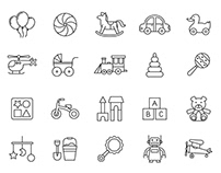 20 Baby Toys Vector Icons