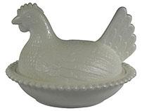 Milk Glass Hen on Nest