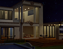 3D Night View Exterior Villa