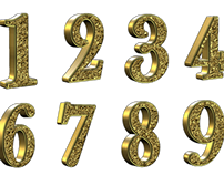 Golden 3D Numbers With Transparent Background