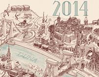 2014 Calendar Poster - Bird's Eye View Map of Budapest
