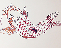 Koi – progress and finished paper art