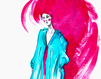 Fashion illustration in different styles
