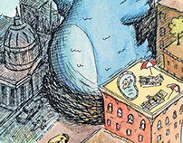 SF Chronicle Pen & Paint Illustrations