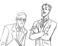 Herald: Lovecraft and Tesla sketch work