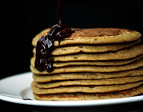 Pumpkin pancakes with chocolate baileys creme