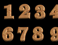 3D Polished Wooden Numbers With Transparent Background