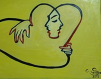 """cuddle """" oil painting on canvas """""""