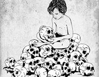 Boy holding a skull