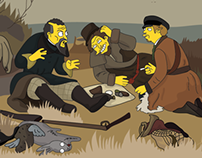 Simpsonization of Perov's «Hunters on a halt»