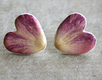 Real Rose Petals Earrings - Botanist In Love Jewelry