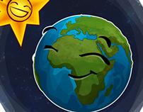 secuencia de ilustraciones del planeta tierra