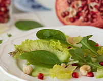 Food styling and photography of fresh green salads